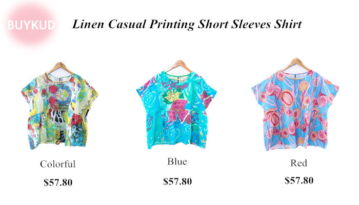 Linen Casual Printing Short Sleeves Shirt