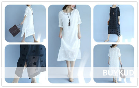 Linen Round Neck Dot Short Sleeves Dress Series