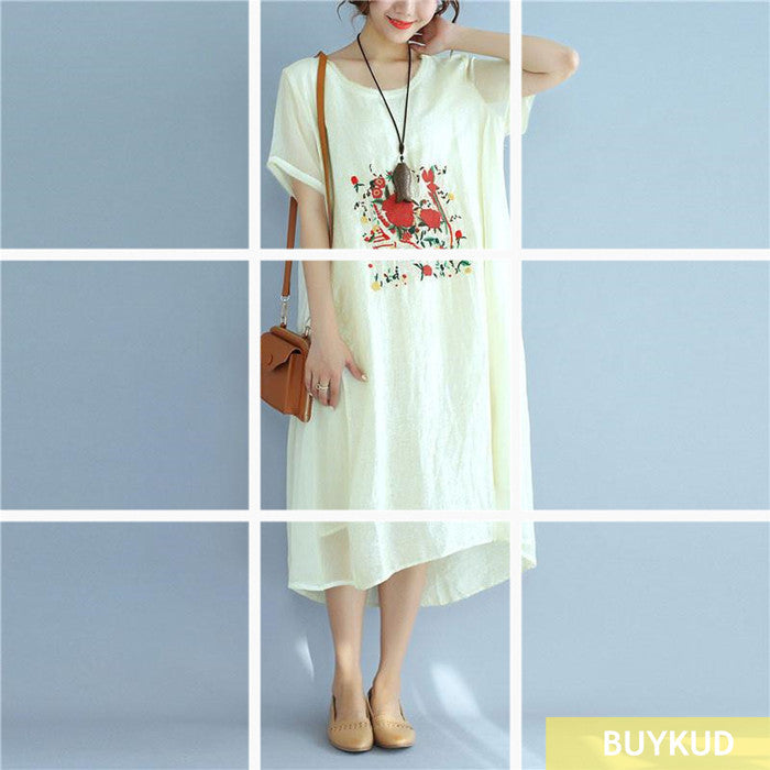 Linen Women Loose Casual Summer Irregular Embroidery Beige Dress