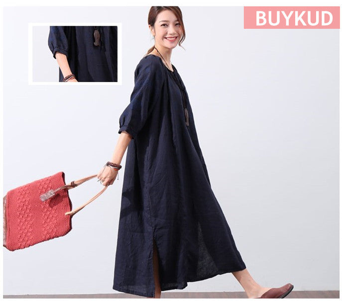 Literature Embroidery Bat Sleeves Strap Loose Women Dark Blue Dress