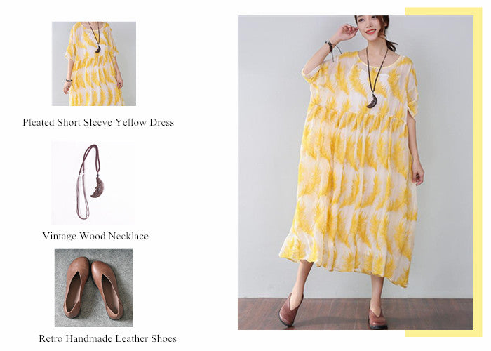 Splicing Pleated Short Sleeve Yellow Dress + Vintage Wood Necklace + Retro Handmade Leather Shoes