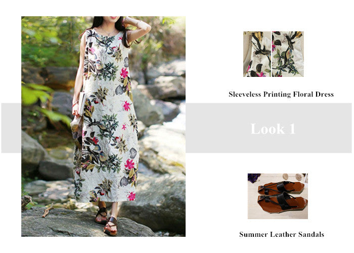 Look 1 Sleeveless Printing Floral Dress + Summer Leather Sandals