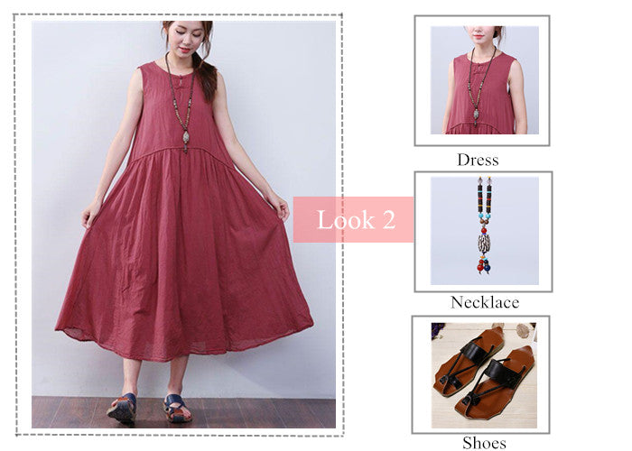 Look 2 Folded Sleeveless Red Dress + Wooden Agate Bead Pendant Necklace + Summer Leather Sandals