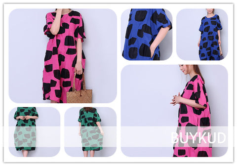 Loose Dot Pocket Cotton Dress Series