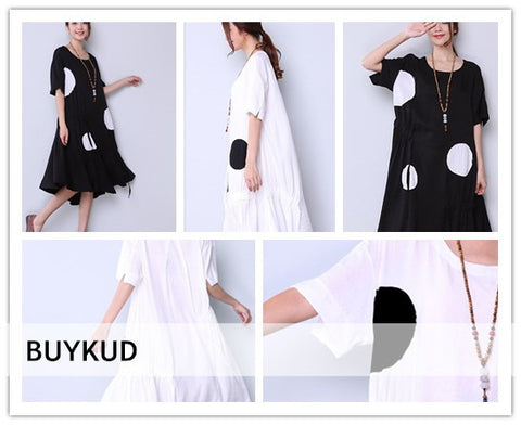 Loose Splicing Slit Dot Strap Women Dress Series