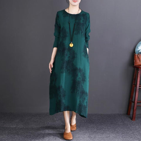 Midi Retro Round Neck Linen Cotton Autumn Dress