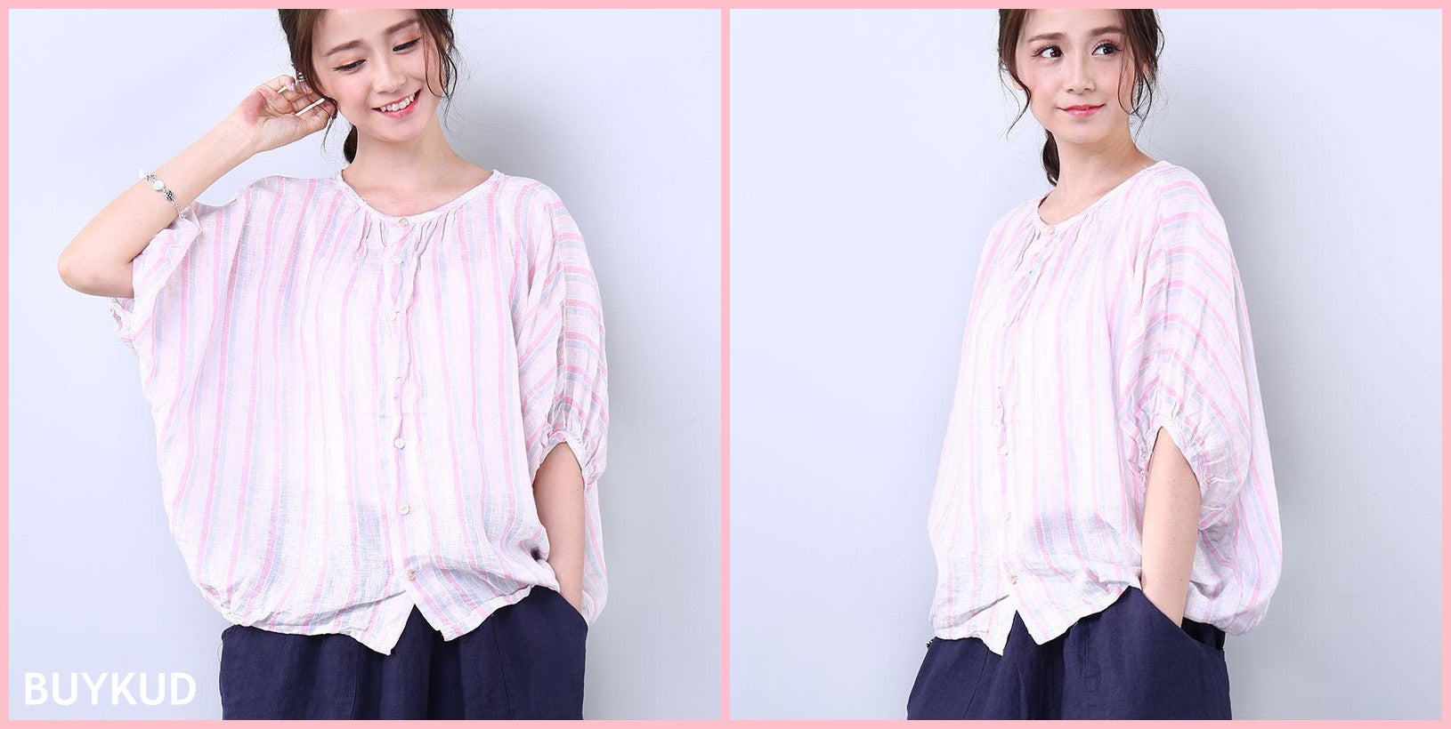 Stripe Bat & Elbow Sleeves Shirt