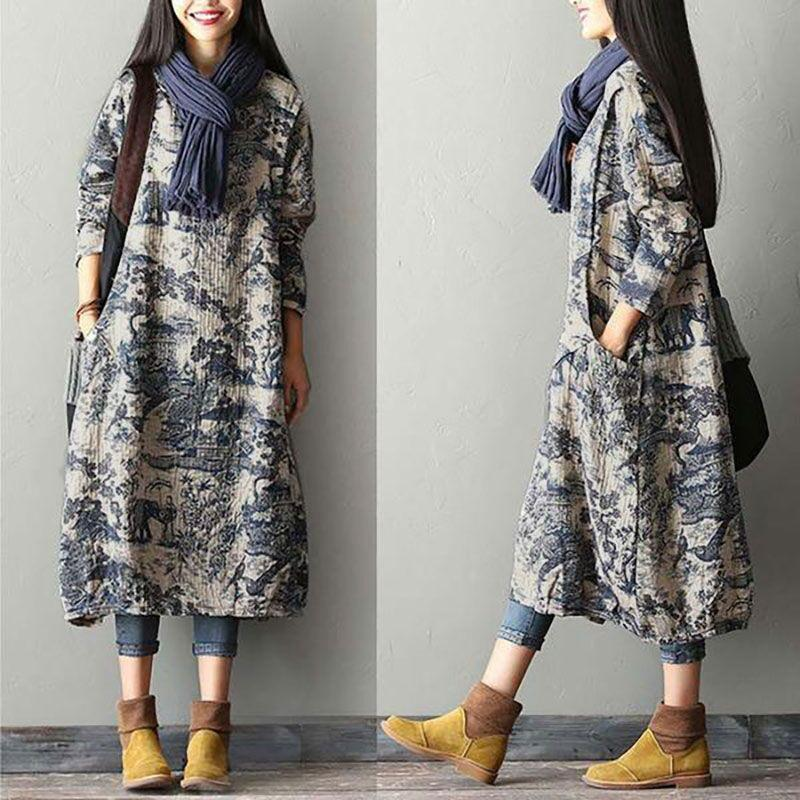 Printing Cotton Linen Dress Robe