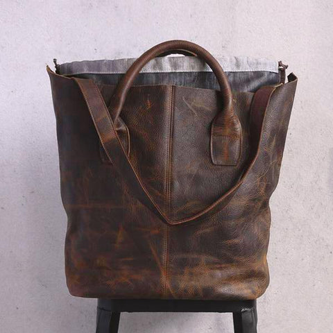 Retro Women Casual Leather Dark Brown