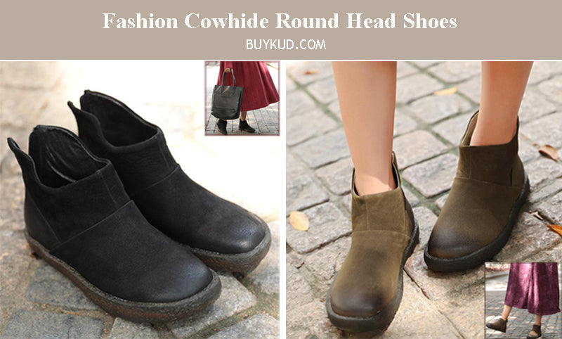Retro Fashion Cowhide Round Head Martin Boots Shoes For Women