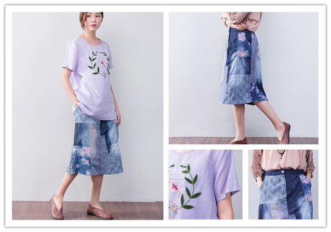 Splicing Floral Blue Skirt + Splicing Floral Purple Shirt