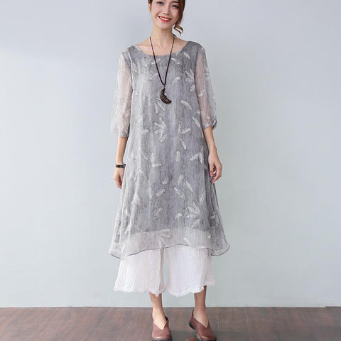 Stylish Printing Lining Elbow Sleeves Gray Dress