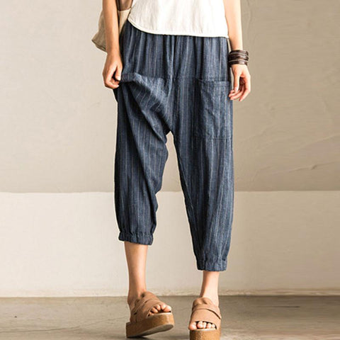 Summer Women Loose Stripe Blue Lantern Pants