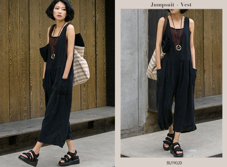 Summer Cotton Loose Casual Folded Women Black Overalls