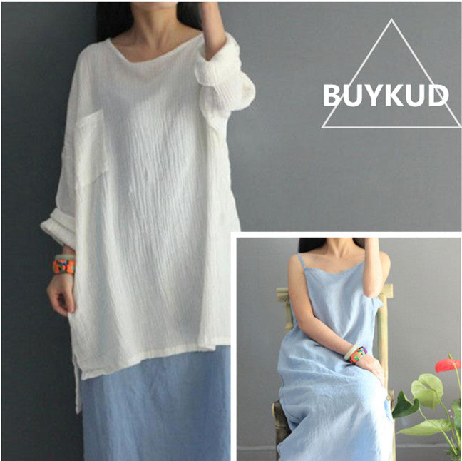 Summer Sweet Women Loose Straight Linen Light Blue Vest Dress
