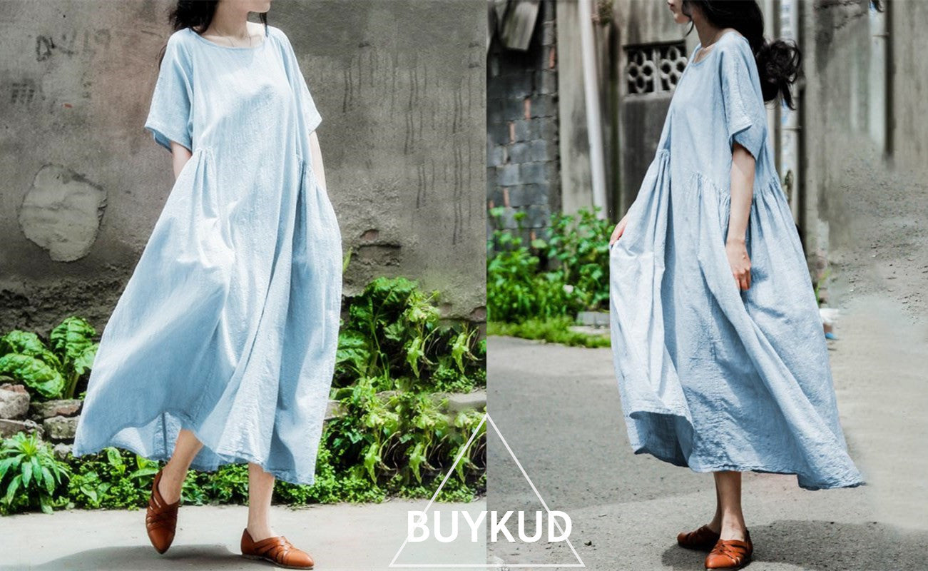 Summer Women Literature Loose Short Sleeve Light Blue Dress