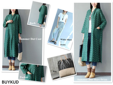 Summer Women Pocket Dot Shirt Dress & Coat