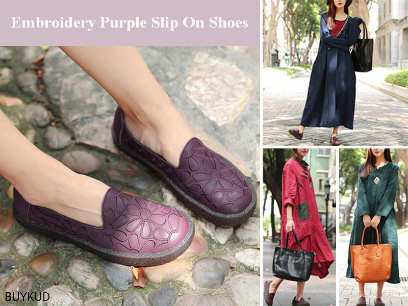 Vintage Women Embroidery Purple Slip On Single Shoes