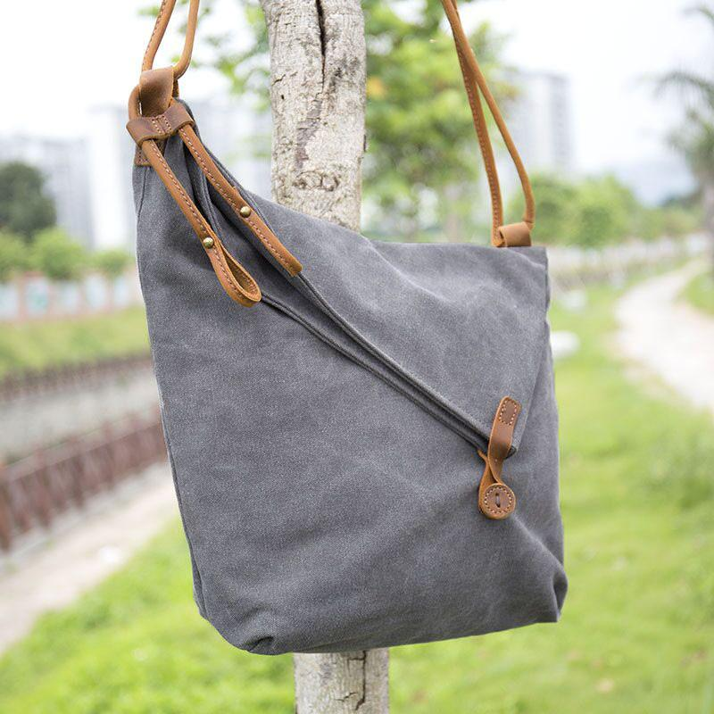 Women Canvas Leather Crossbody Bag