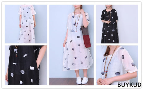 Dot Loose Cotton Linen Retro Splitting Frog Dress