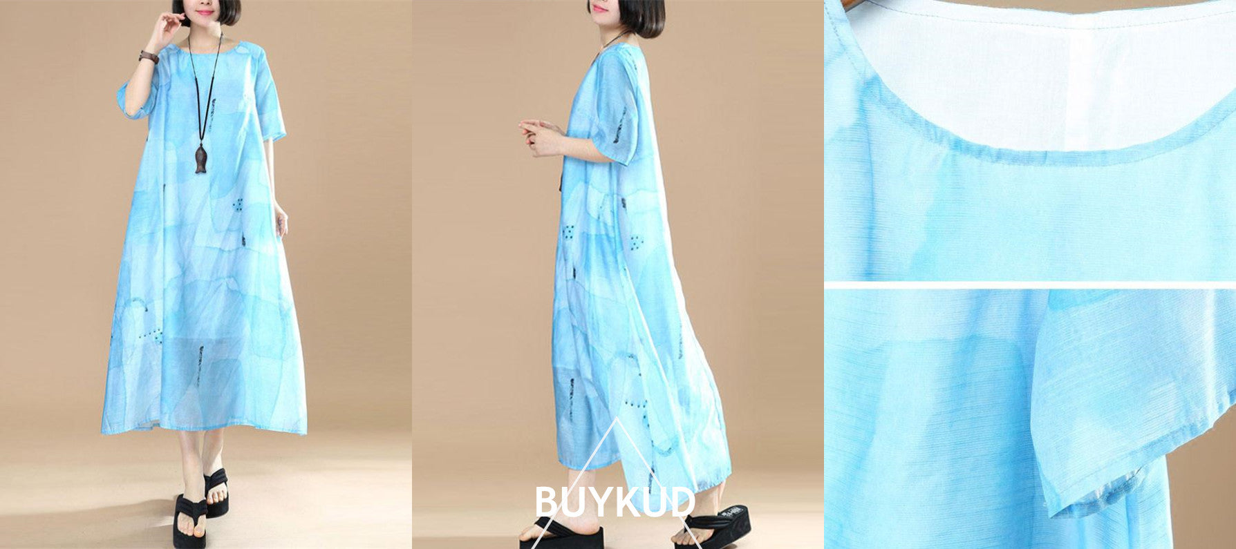 Women Loose Lining Polyester Light Blue Dress