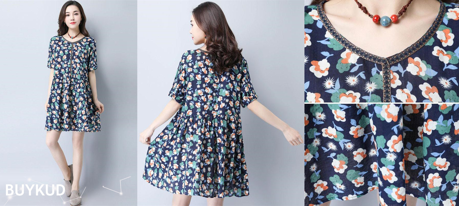 Women Summer Casual Floral Sweet Navy Blue Short Sleeve Dress