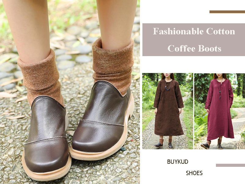 Women Winter Fashionable Cotton Coffee Boots Shoes