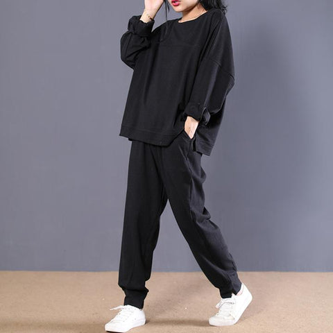 Autumn Casual Cotton Black Blouse And Pants