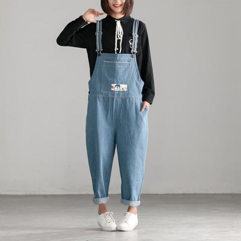 Autumn Denim Embroidery Cotton Blue Jumpsuit