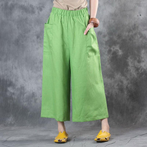Casual Linen Loose Women Green Wide Leg Pants