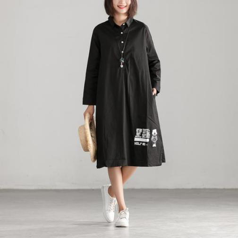 Casual Loose Black Long Sleeve Polo Collar Dress