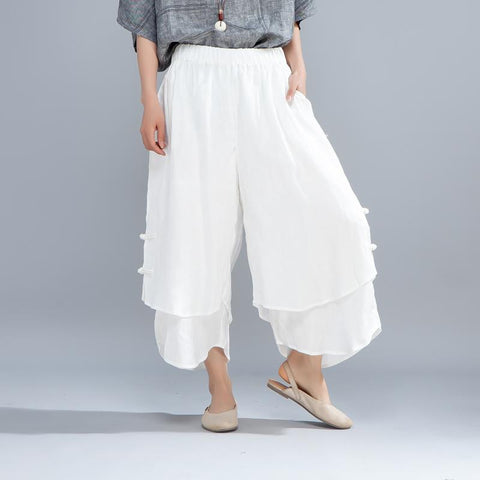 Casual Women Pure White False Two Piece Pants