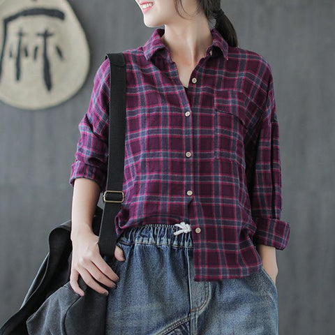 Cotton Plaid Autumn Casual Loose Female Shirt