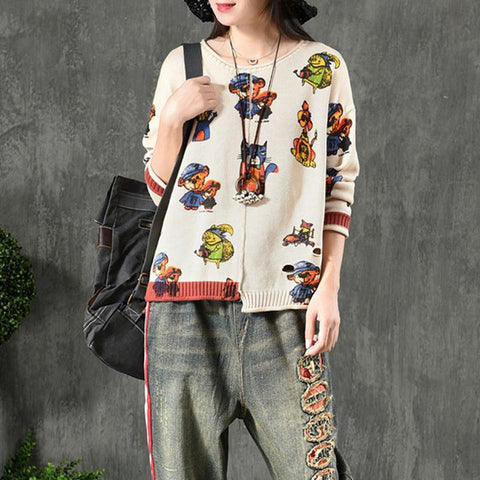 Cotton Women Loose Cute Cartoon Sweater