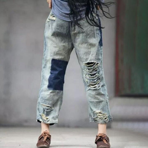Distressed Vintage Trousers Long Denim Pants