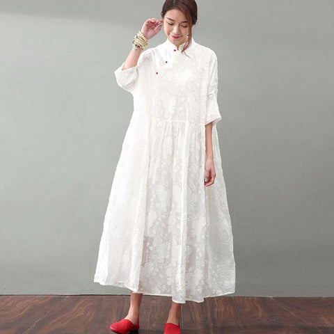 Elegant Jacquard Lace Women Dress