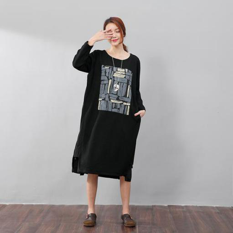 Women Round Neck Long Sleeve Black Dress