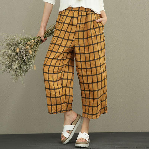 Literature Women Ramie Yellow Lattice Wide Leg Pants