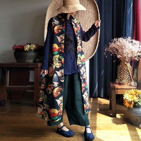 Long Sleeveless Cardigan Women Retro Waistcoat