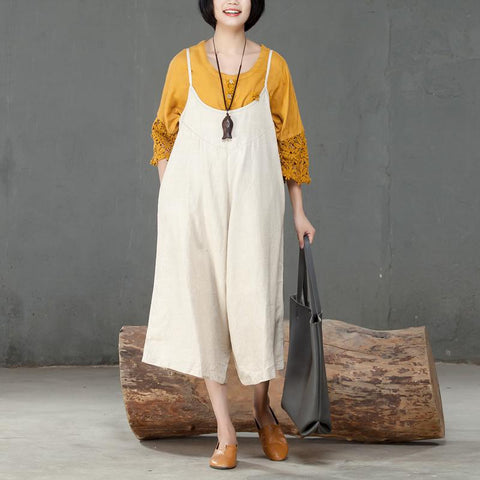 Loose Linen Women Casual Beige Calf Length Jumpsuit