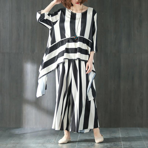 Loose Summer Suit Three Quarter Sleeve Shirt Stripe Pants