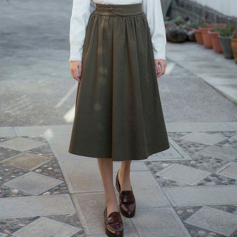 One Chinese Button Solid Lady's Skirt Ankle-length