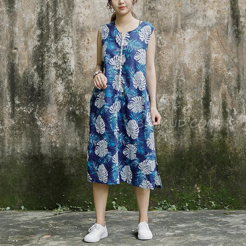 Sleeveless Round Neck Leaves Pattern Navy Blue Dress