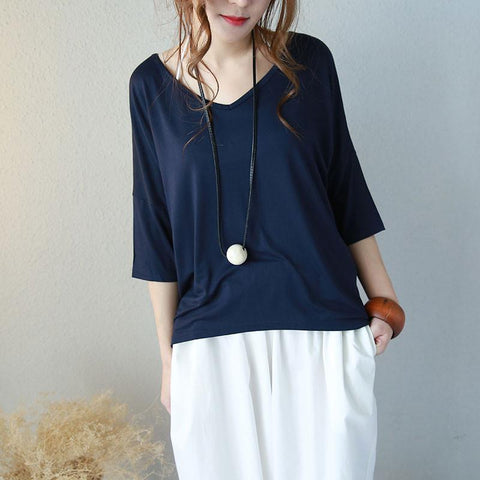 Summer Loose Casual Cotton Women Navy Blue Shirt