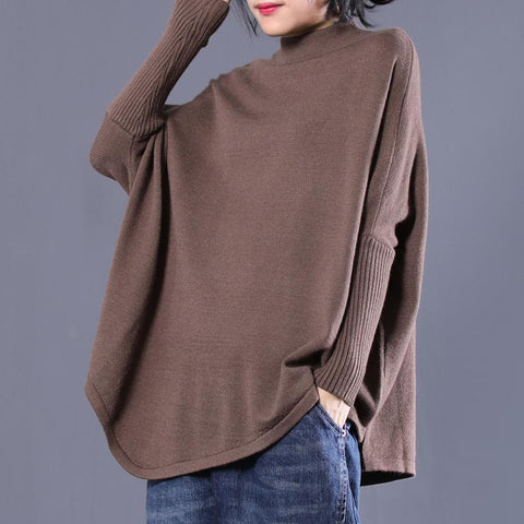 Winter Coffee Cotton Solid Large Size Long Sleeve Sweater