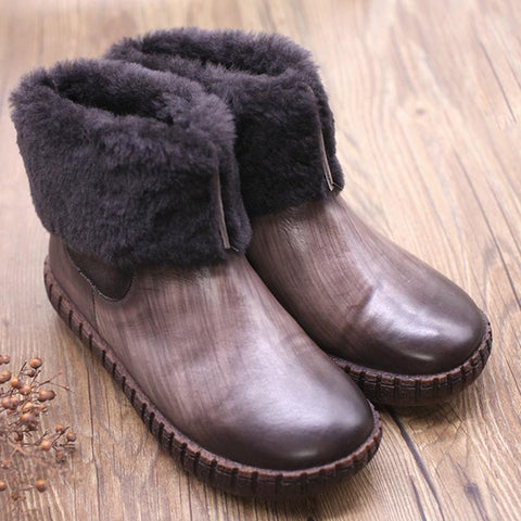 Winter Women Cowhide Velvet Flat Heel Boots