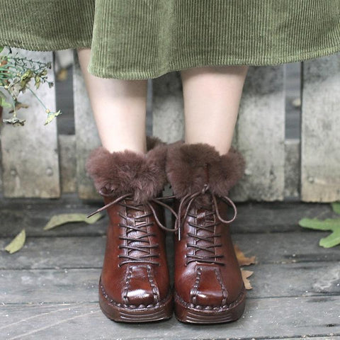 Winter Women Velvet Cowhide Lacing Shoes Boots