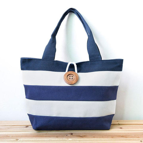 Women Canvas Zipper Stripe Button Shoulder Bag Handbag