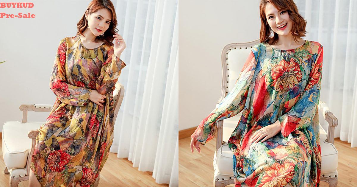 Women Floral Loose Polyester Split Vintage Midi Dress