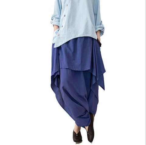 Women Cotton Linen Wide Leg Pants-One Size